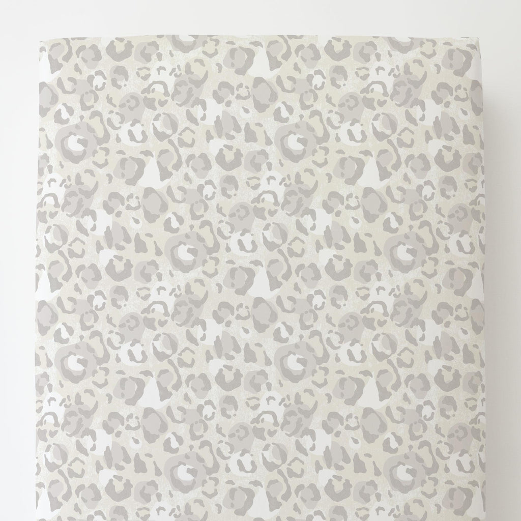 Product image for French Gray Leopard Toddler Sheet Bottom Fitted