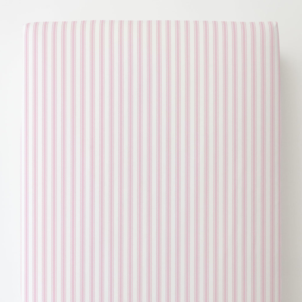 Product image for Bubblegum Pink Ticking Stripe Toddler Sheet Bottom Fitted