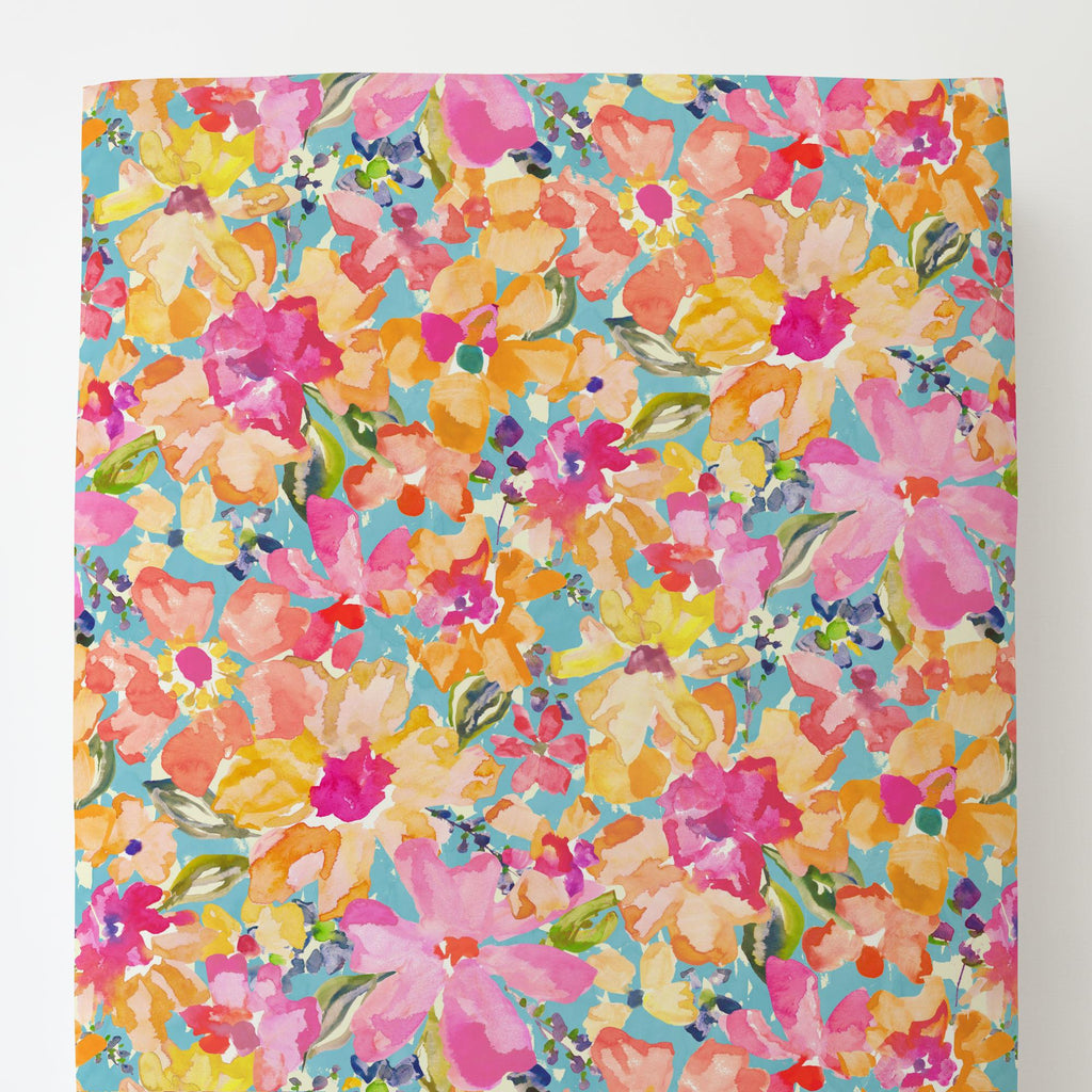 Product image for Coral Flower Bouquet Toddler Sheet Bottom Fitted