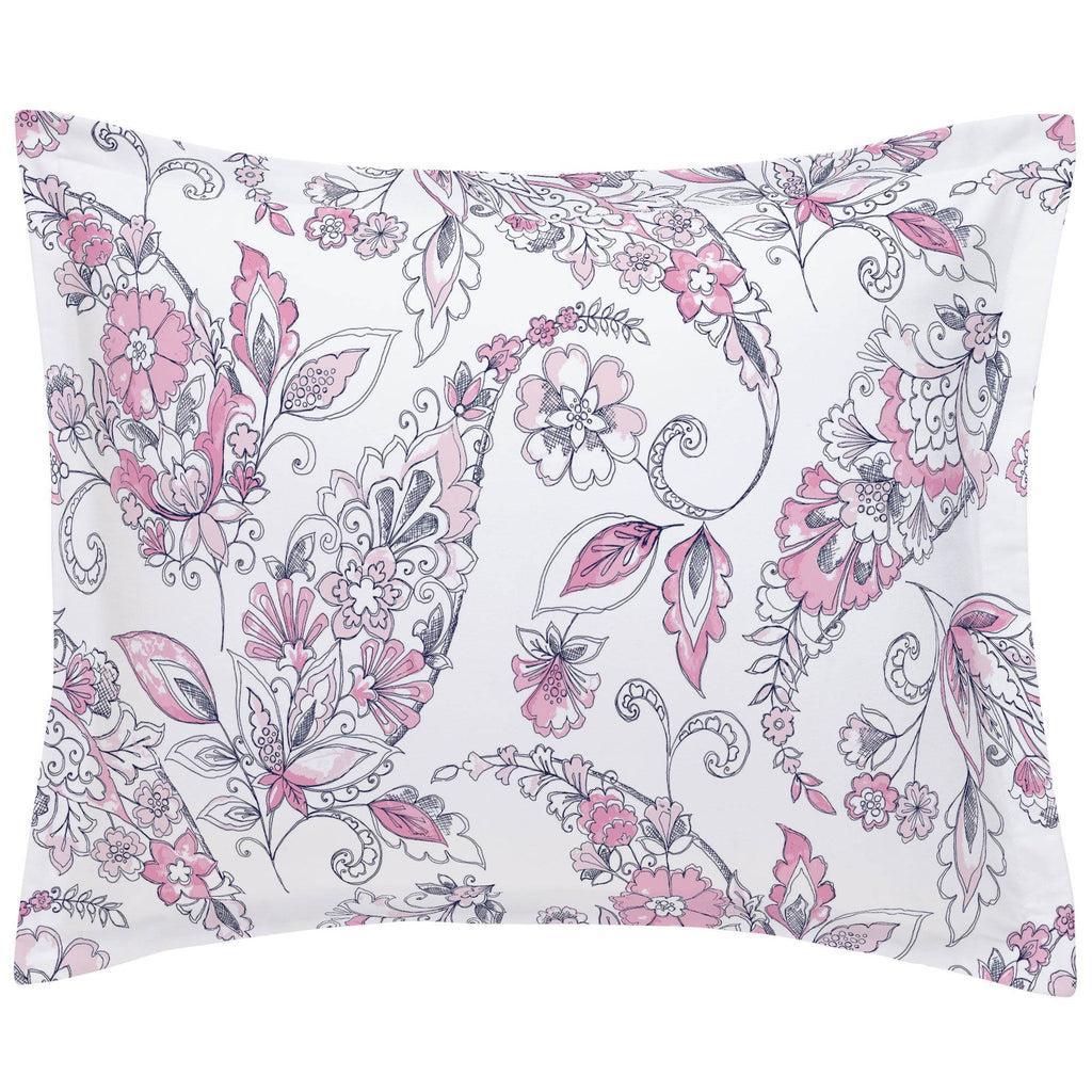 Product image for Pink and Navy Sketchbook Floral Pillow Sham