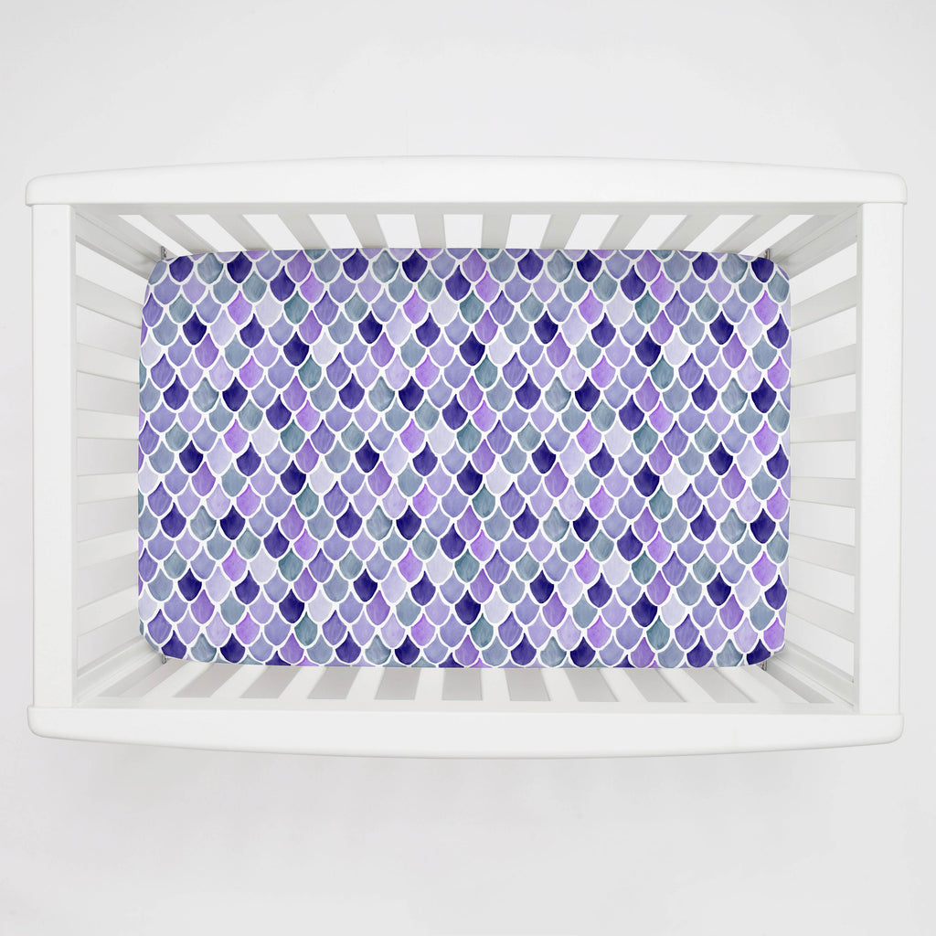 Product image for Lilac Watercolor Scales Mini Crib Sheet