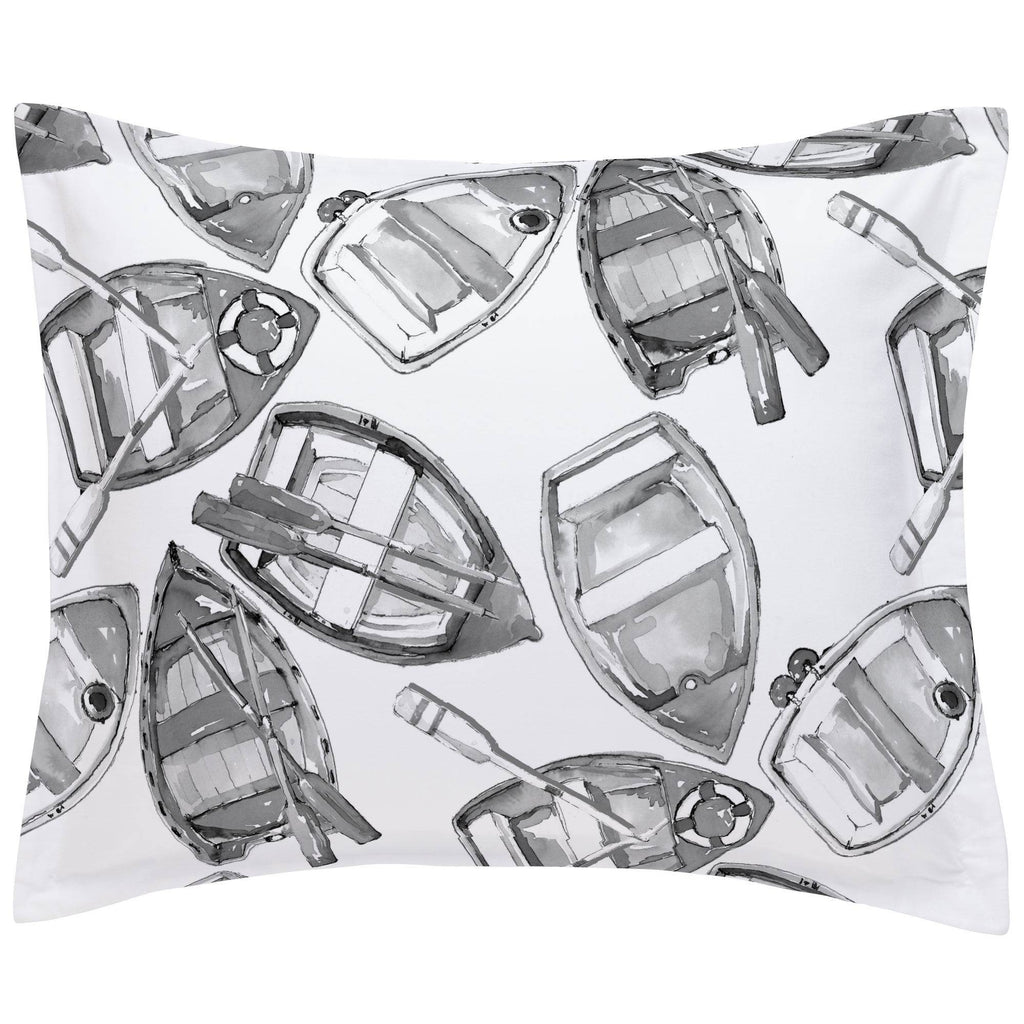 Product image for Gray Watercolor Boats Pillow Sham