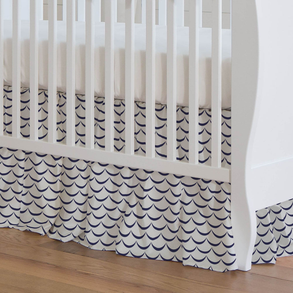Product image for White and Navy Waves Crib Skirt Gathered