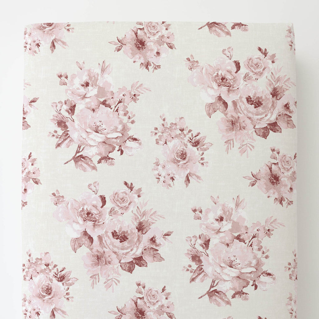 Product image for Rose Farmhouse Floral Toddler Sheet Bottom Fitted