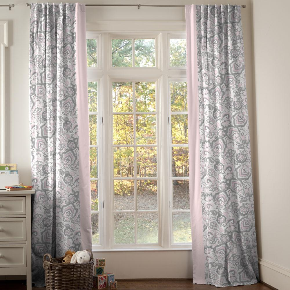 Product image for Pink and Gray Jacobean Drapes with Trim