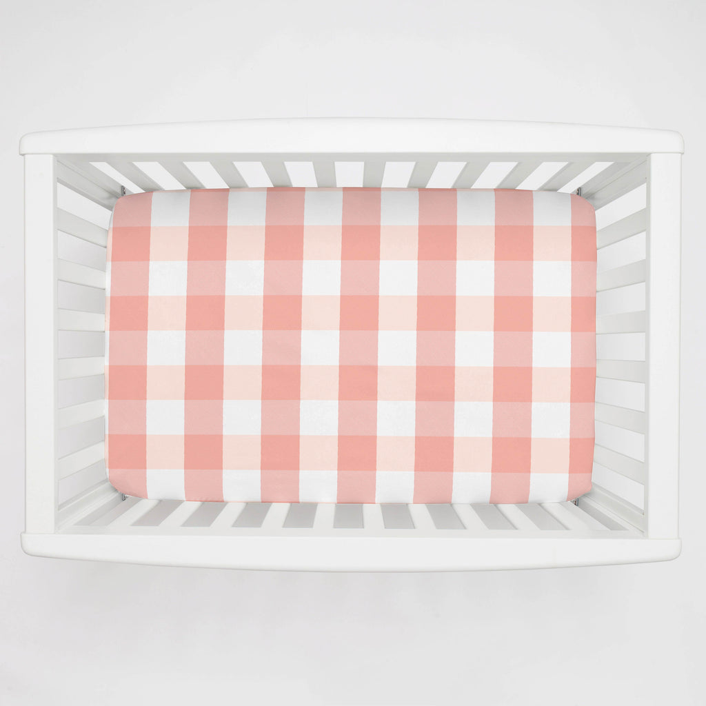 Product image for Light Coral and Peach Buffalo Check Mini Crib Sheet