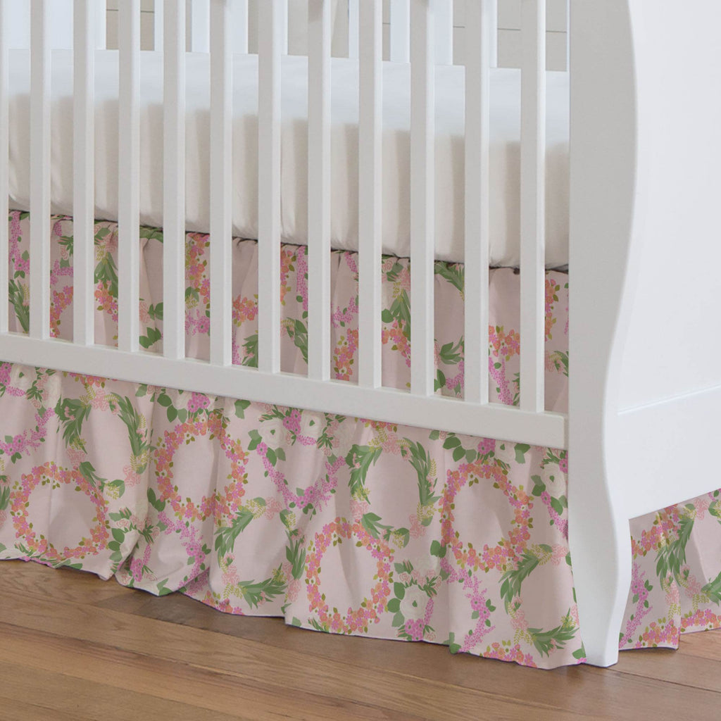 Product image for Pink and Coral Floral Wreath Crib Skirt Gathered