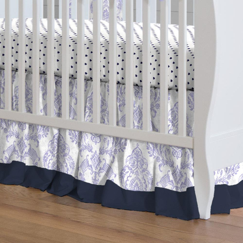 Product image for Lilac Painted Damask Crib Skirt Gathered with Trim