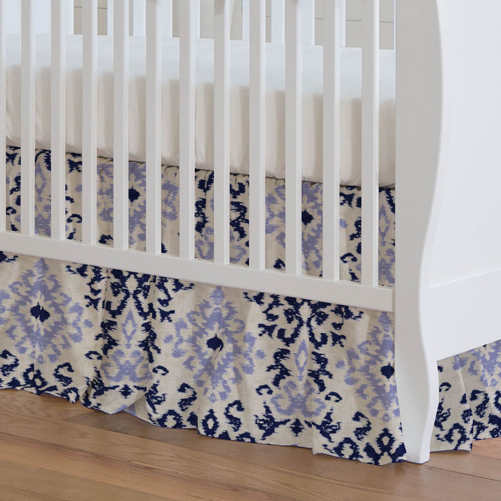 Product image for Navy and Lavender Ikat Damask Crib Skirt Gathered