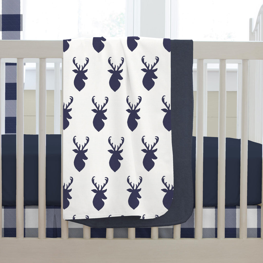 Product image for Windsor Navy Deer Head Baby Blanket