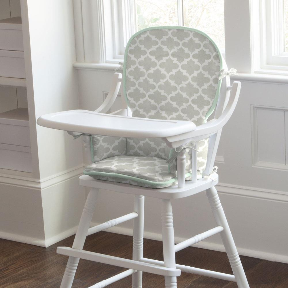 Product image for French Gray Quatrefoil High Chair Pad