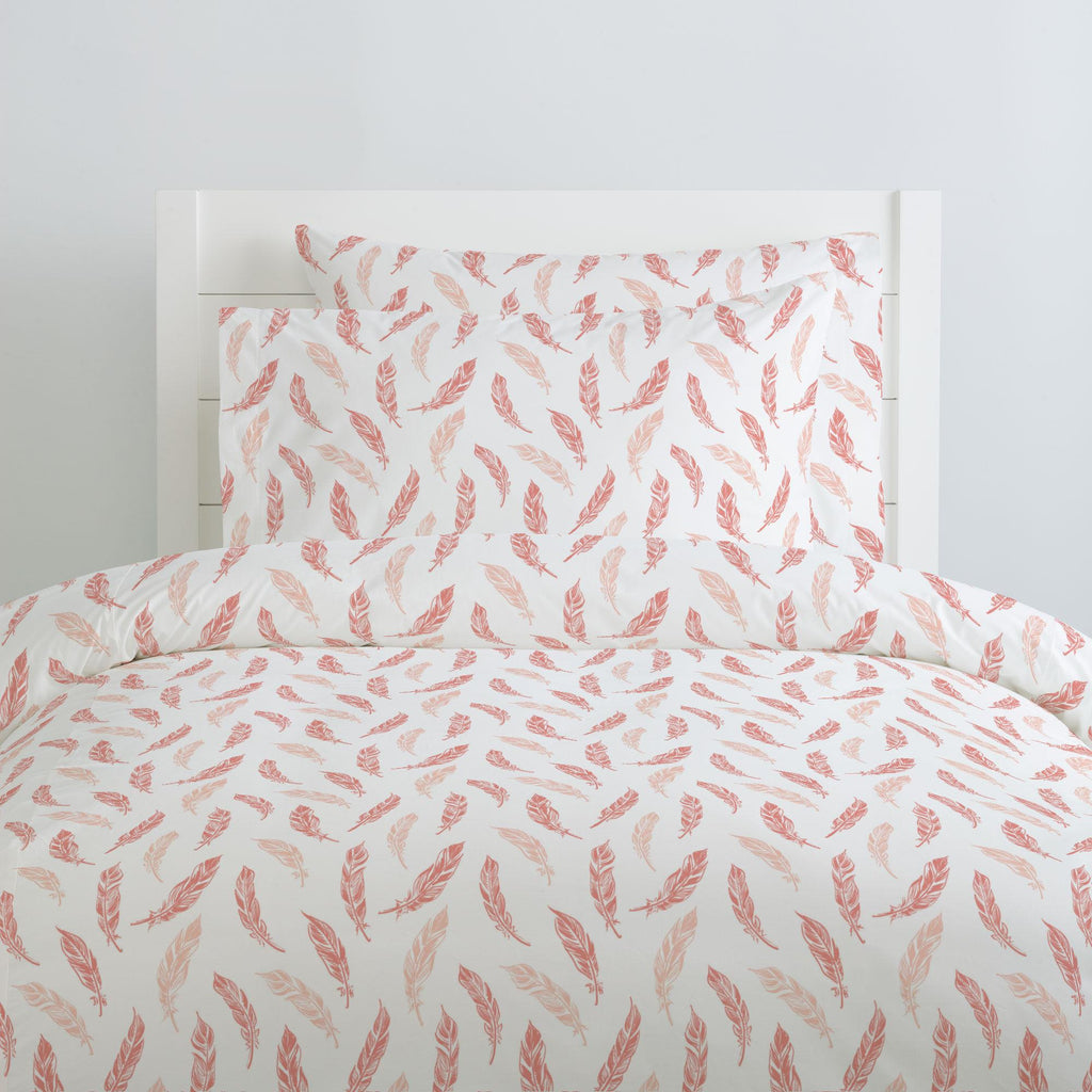 Product image for Light Coral and Peach Hand Drawn Feathers Duvet Cover