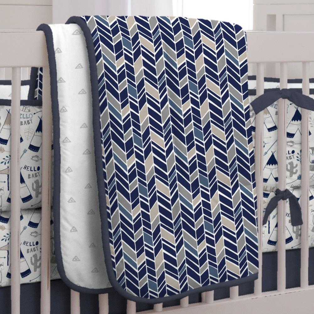 Product image for Taupe and Windsor Navy Herringbone Crib Comforter with Piping