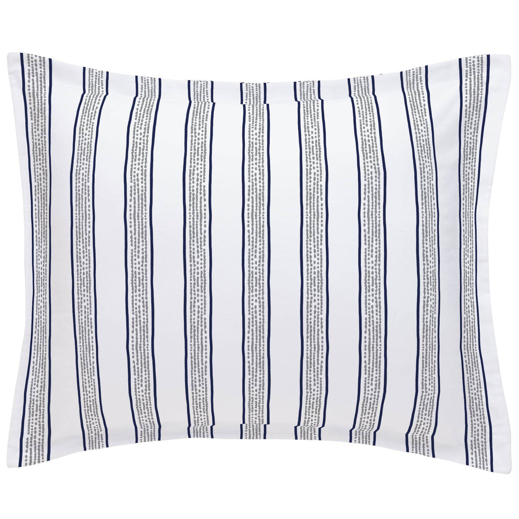Product image for Navy and Gray Beach Stripe Pillow Sham