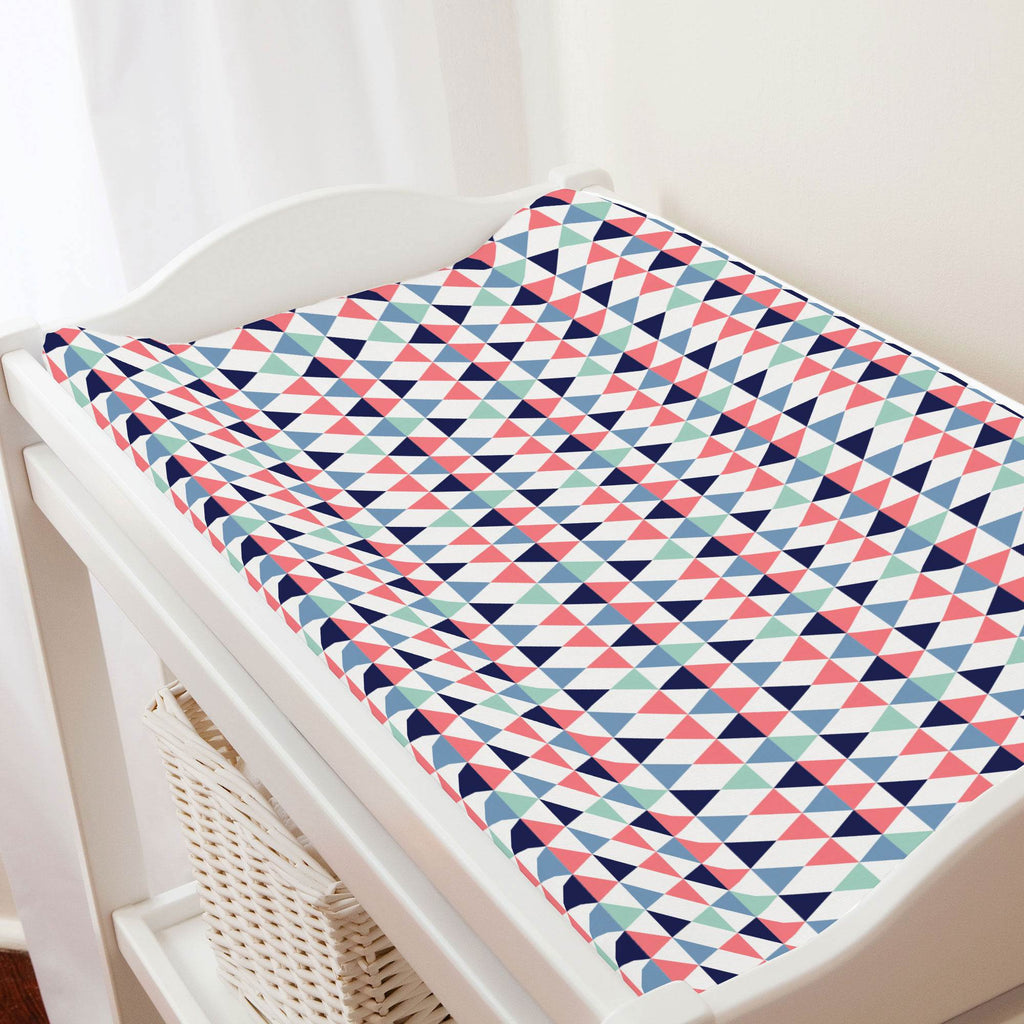 Product image for Coral and Mint Triangles Changing Pad Cover