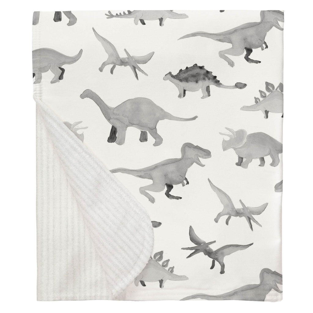 Product image for Gray Watercolor Dinosaurs Baby Blanket
