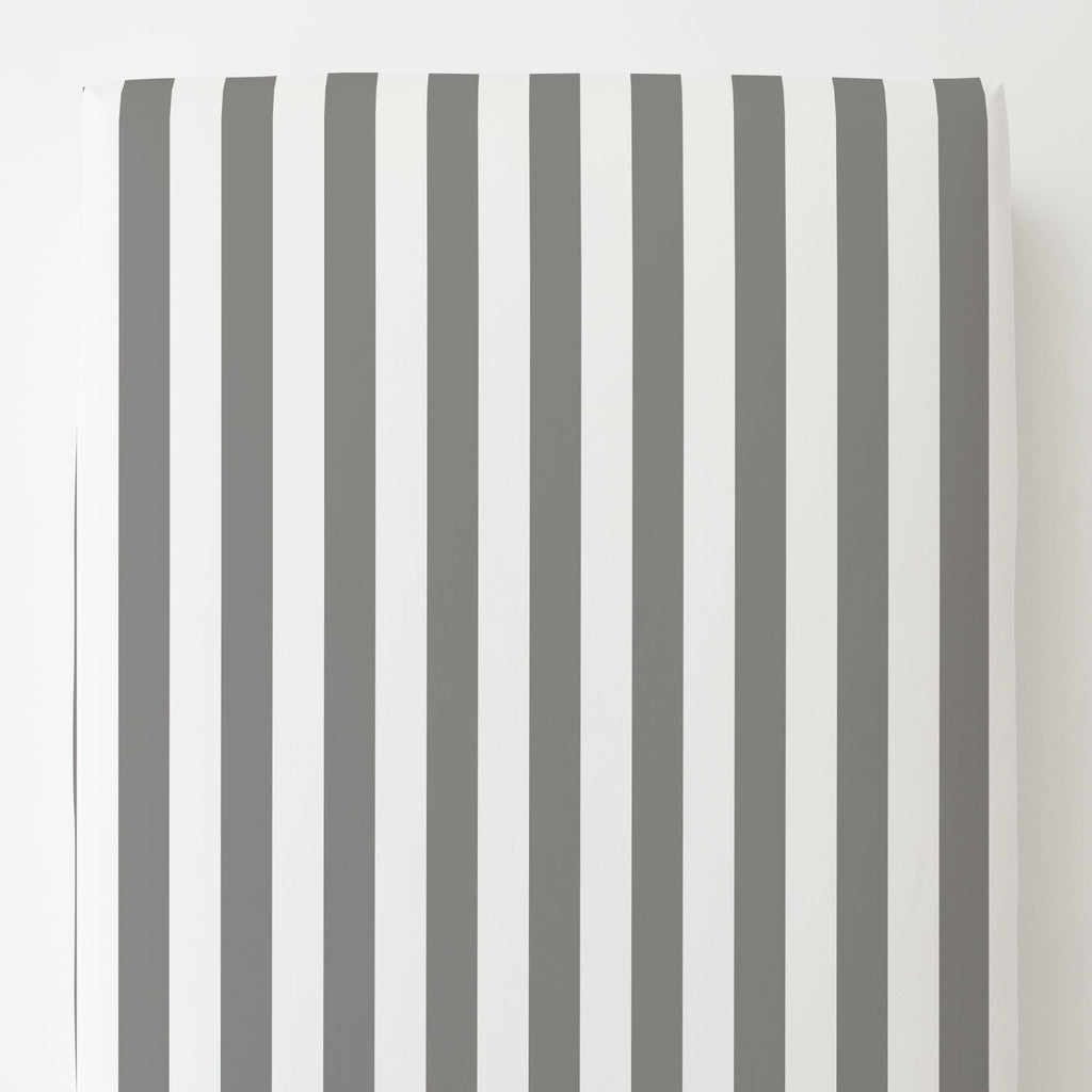 Product image for White and Gray Stripe Toddler Sheet Bottom Fitted