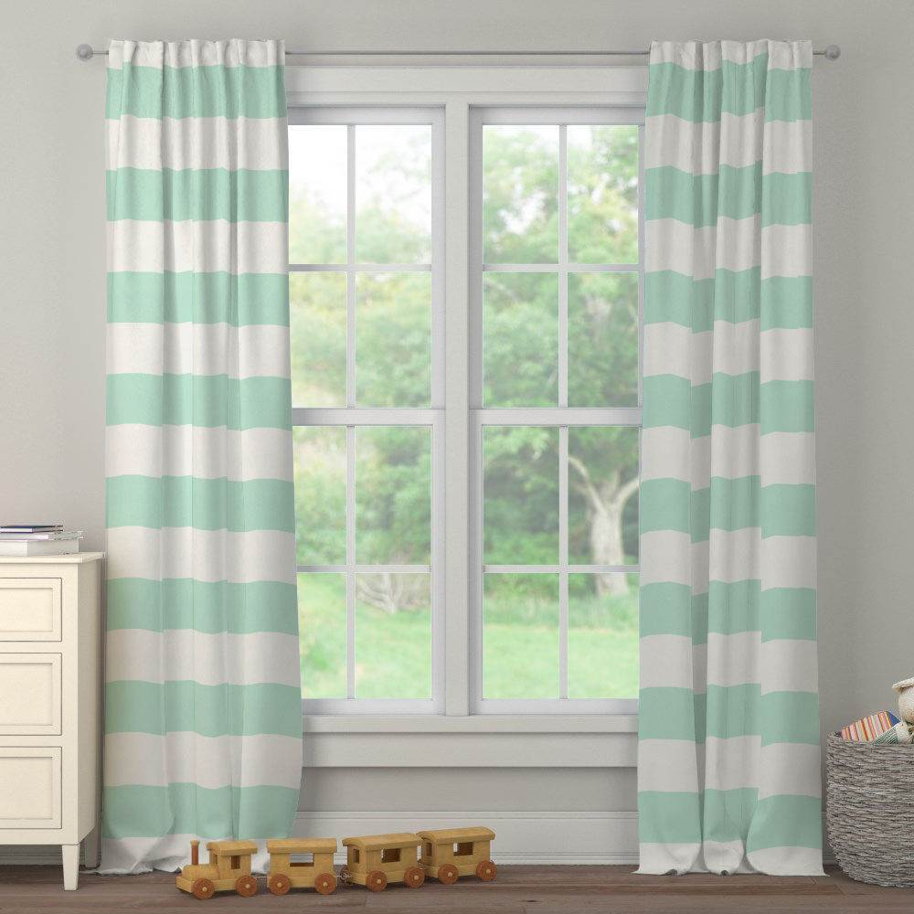 Product image for Icy Mint Horizontal Stripe Drape Panel