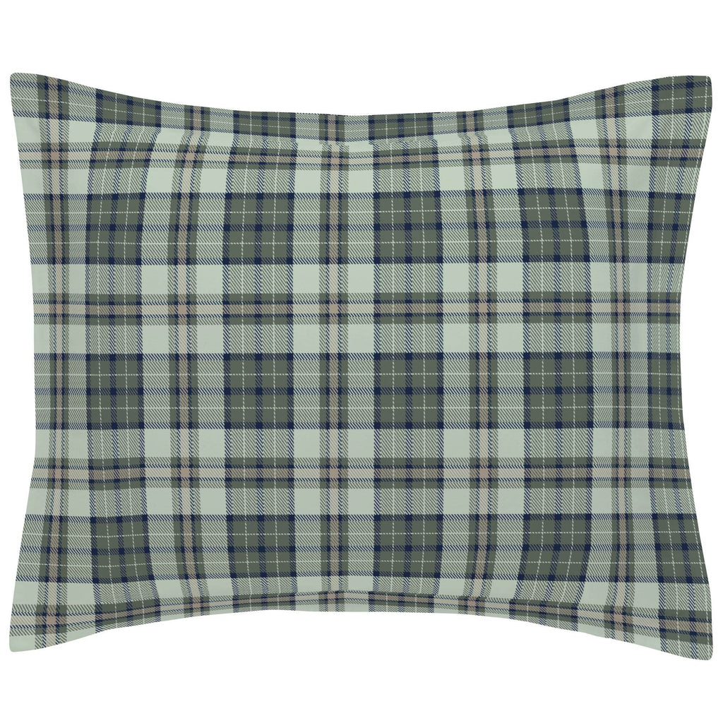 Product image for Navy and Seafoam Plaid Pillow Sham