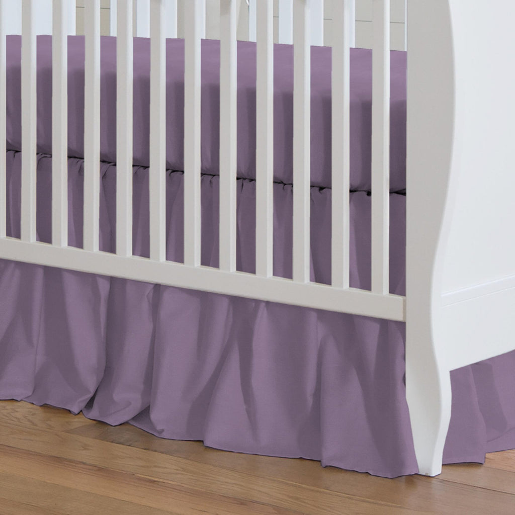 Product image for Solid Aubergine Purple Crib Skirt Gathered