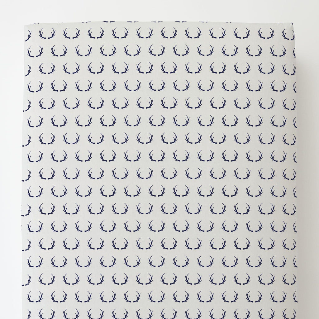 Product image for Windsor Navy Antlers Toddler Sheet Bottom Fitted