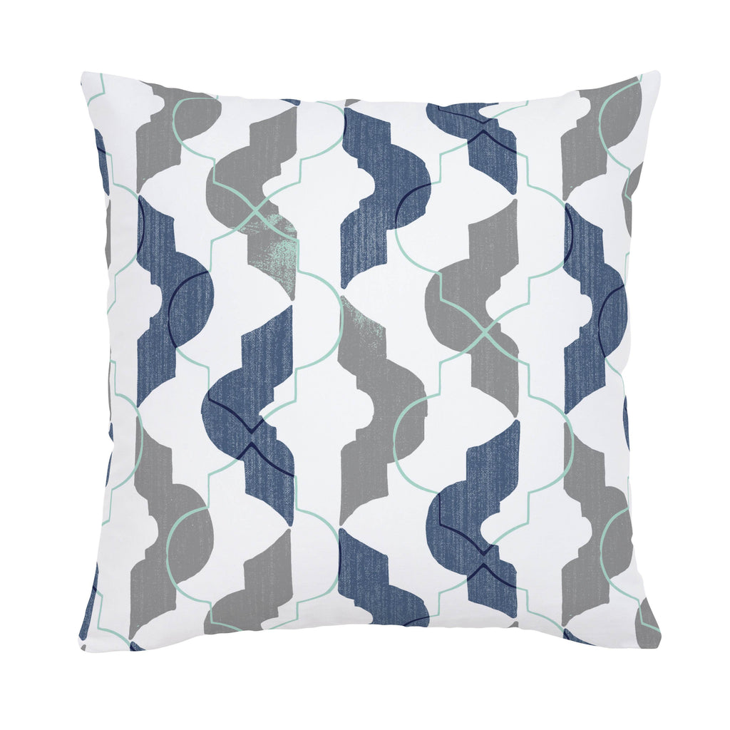 Product image for Denim and Gray Modern Quatrefoil Throw Pillow
