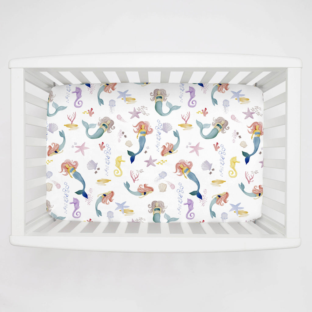 Product image for Watercolor Mermaids Mini Crib Sheet
