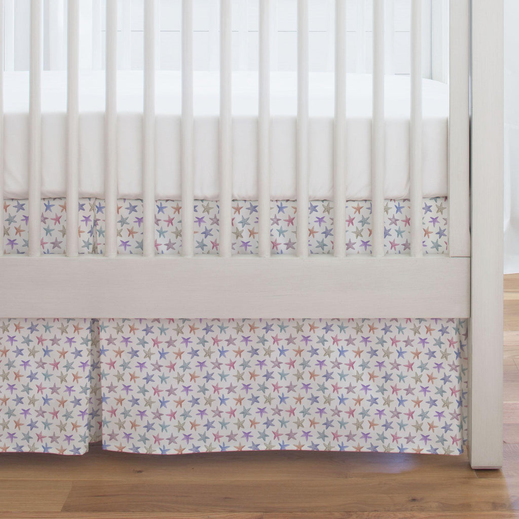 Product image for Watercolor Starfish Crib Skirt Single-Pleat
