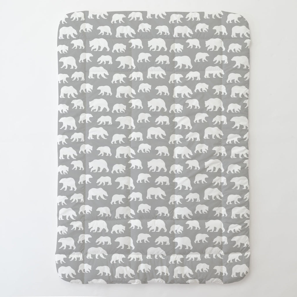 Product image for Silver Gray and White Bears Toddler Comforter
