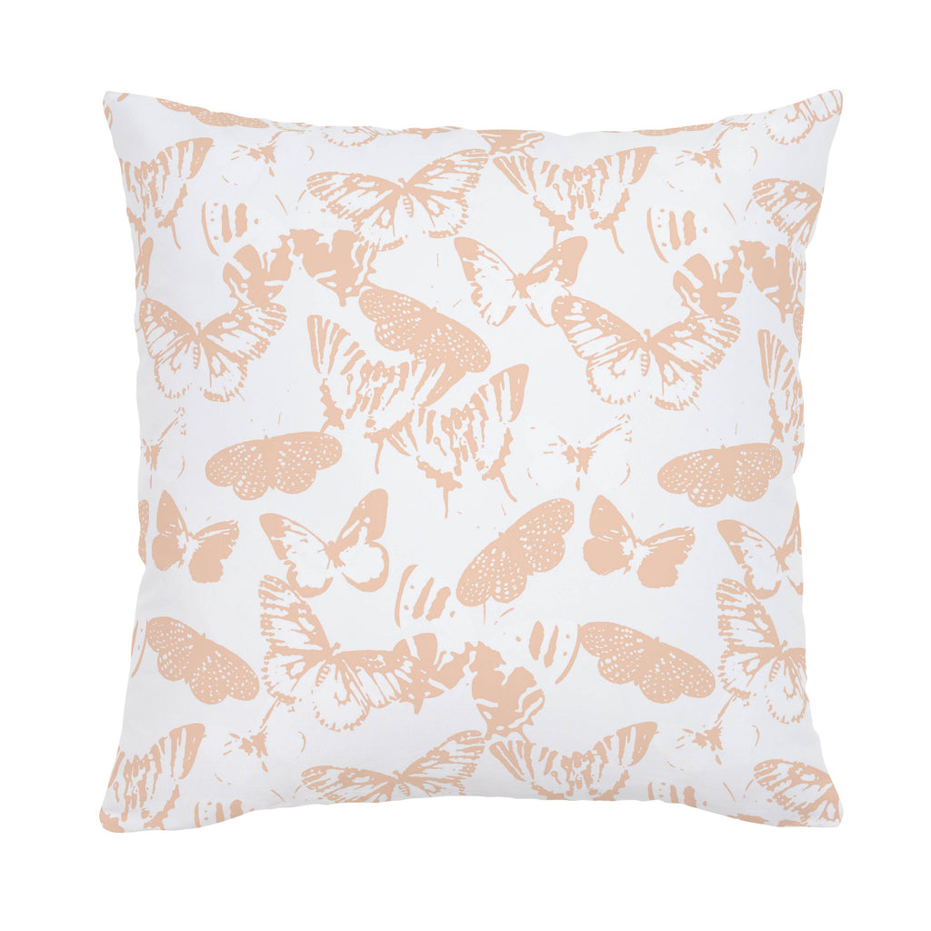 Product image for Peach Modern Butterflies Throw Pillow