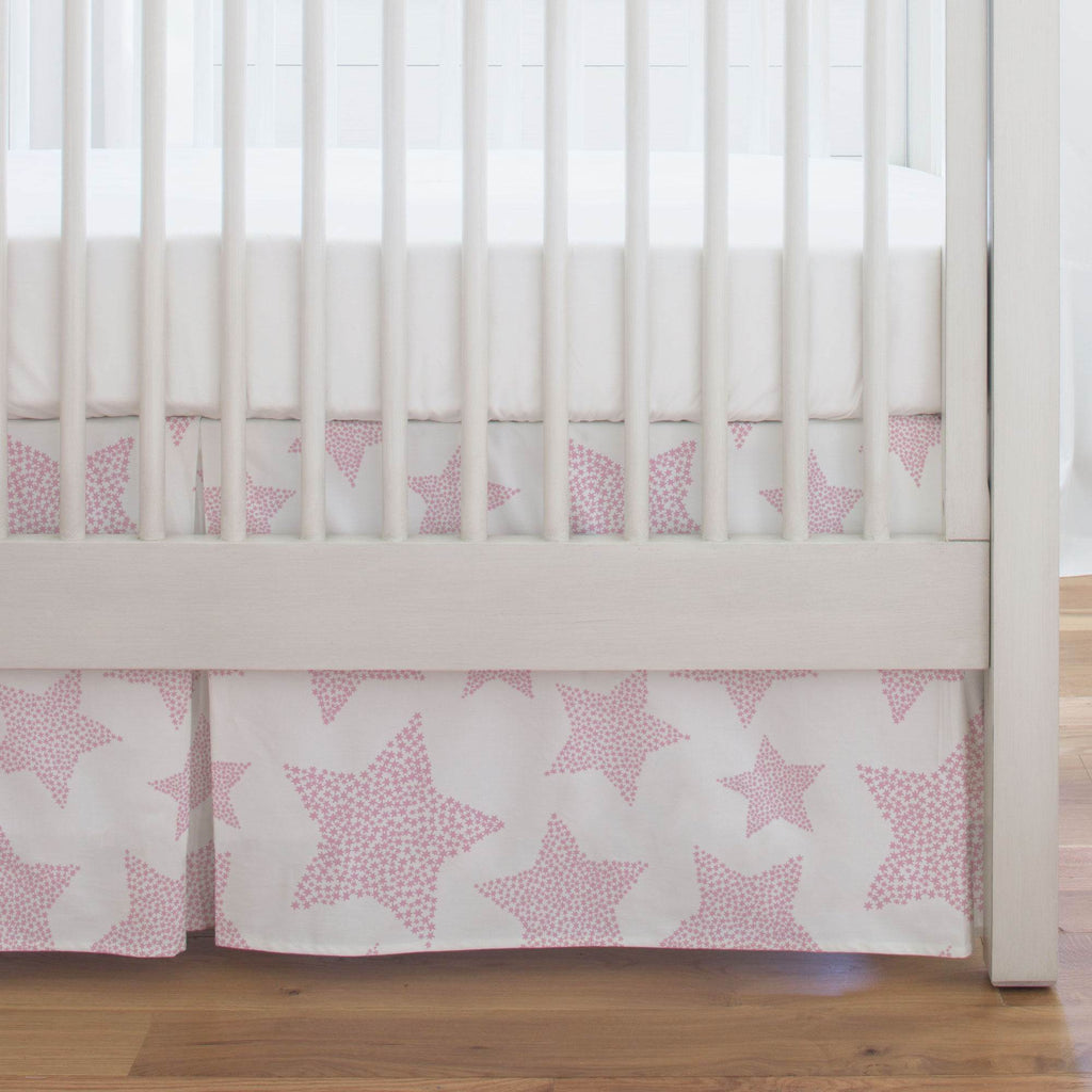 Product image for Bubblegum Galaxy Stars Crib Skirt Single-Pleat