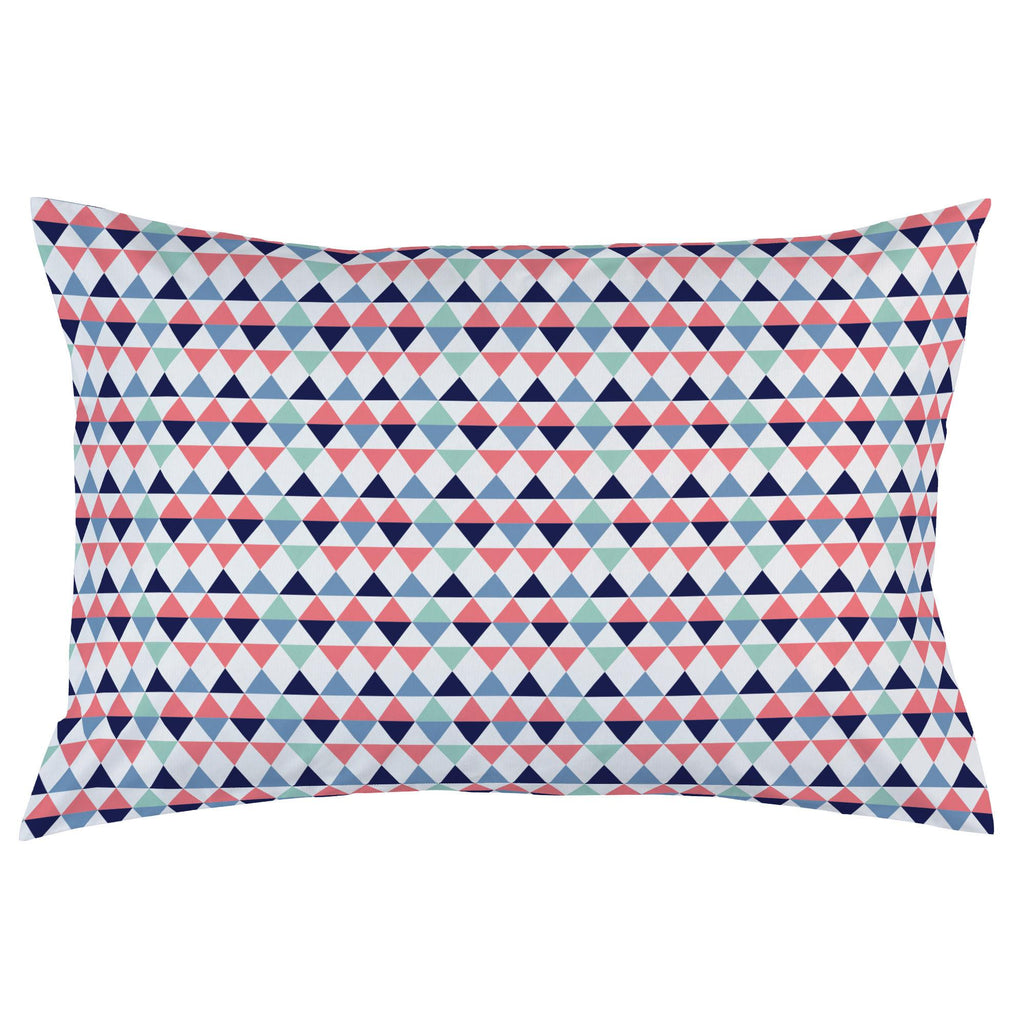 Product image for Coral and Mint Triangles Pillow Case