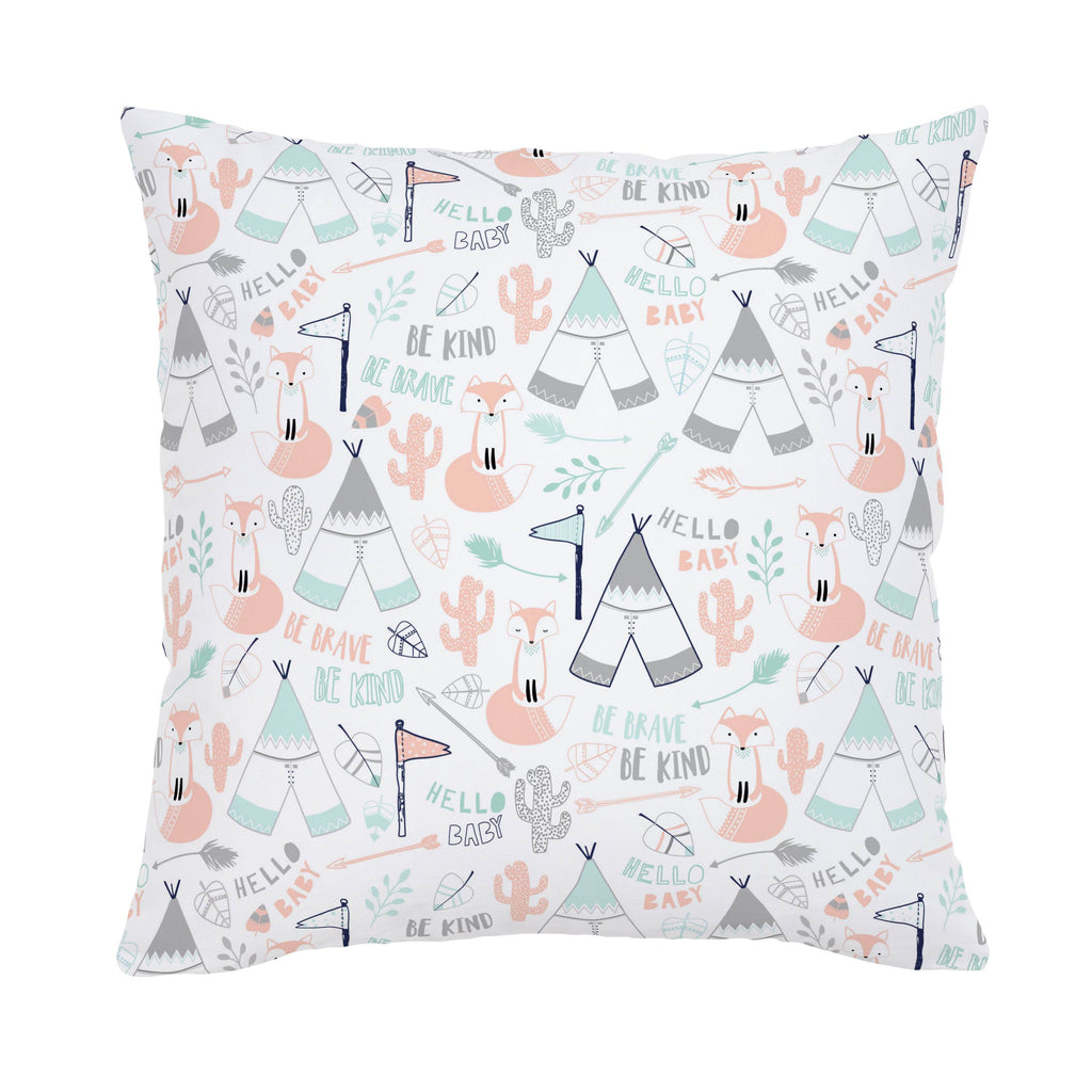 Product image for Peach Brave Fox Throw Pillow