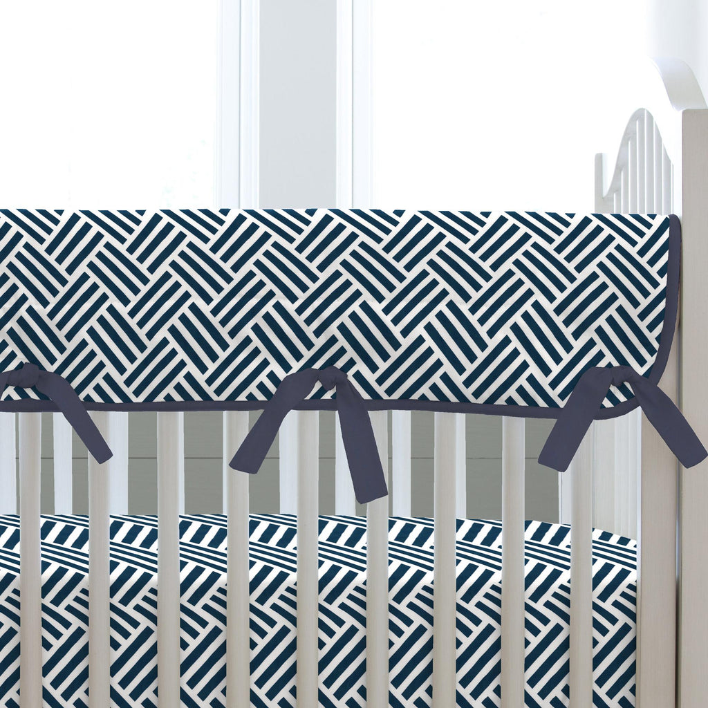 Product image for Navy Basketweave Crib Rail Cover
