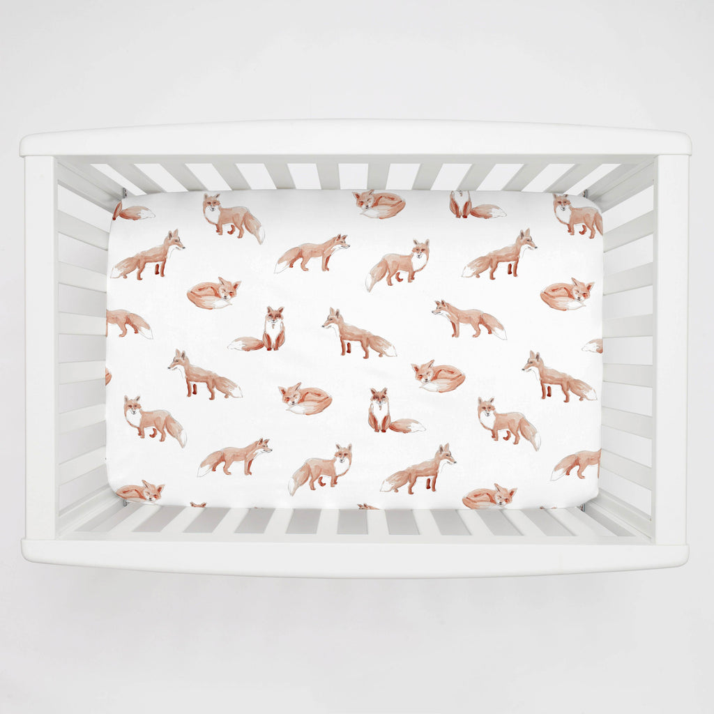 Product image for Watercolor Fox Mini Crib Sheet