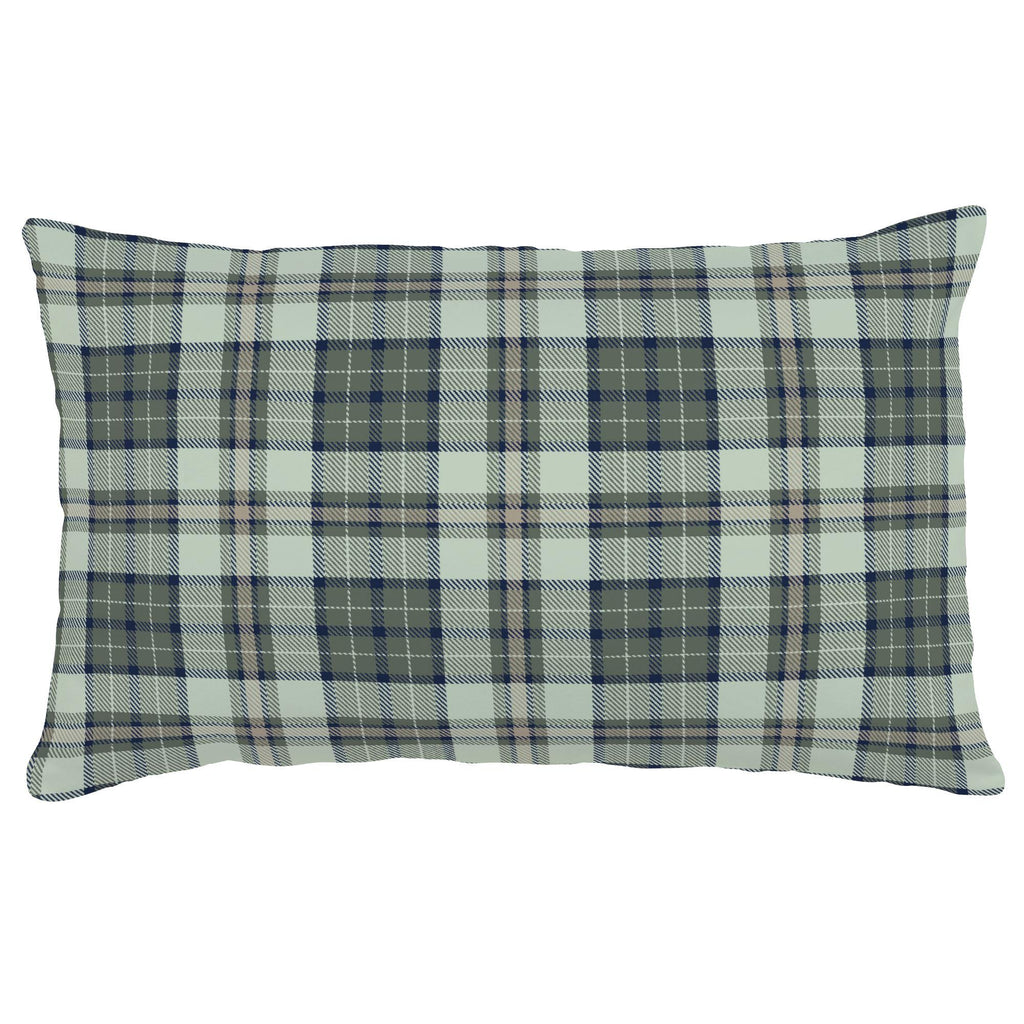 Product image for Navy and Seafoam Plaid Lumbar Pillow