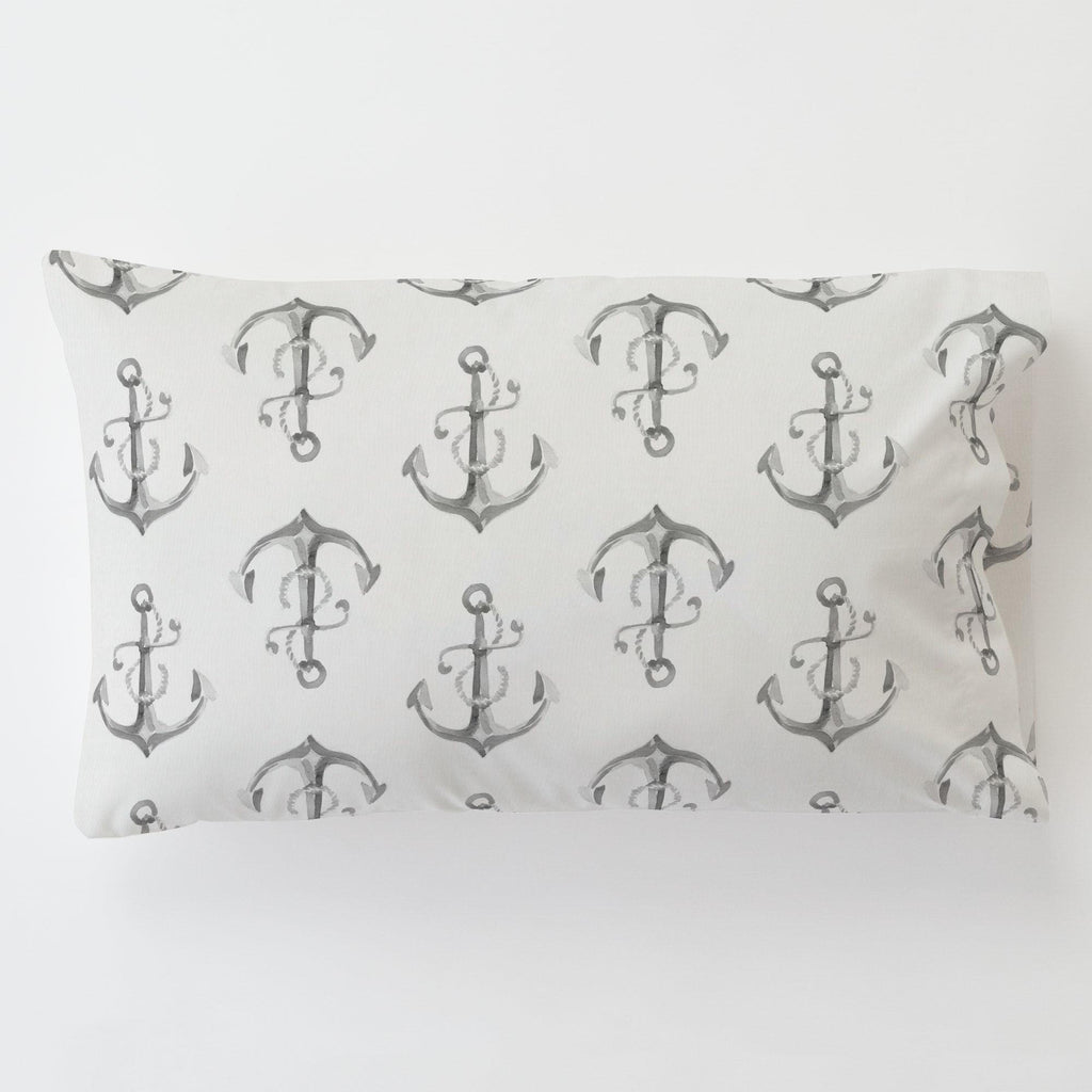 Product image for Gray Watercolor Anchors Toddler Pillow Case with Pillow Insert