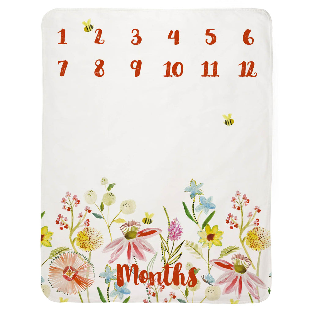 Product image for Watercolor Springtime Milestone Baby Blanket