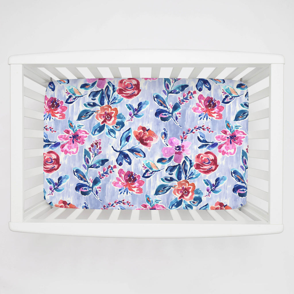 Product image for Pink and Lavender Garden Mini Crib Sheet