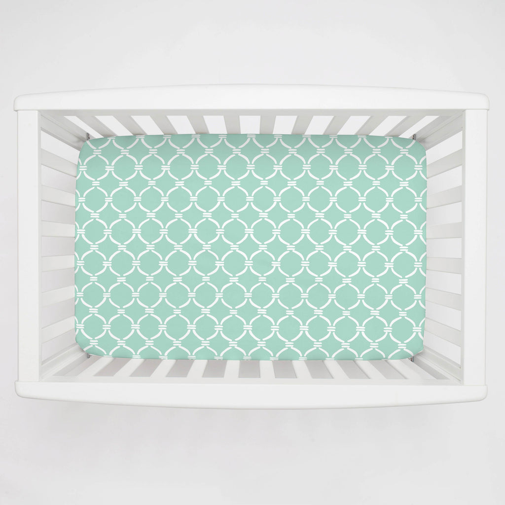 Product image for Mint and White Lattice Circles Mini Crib Sheet