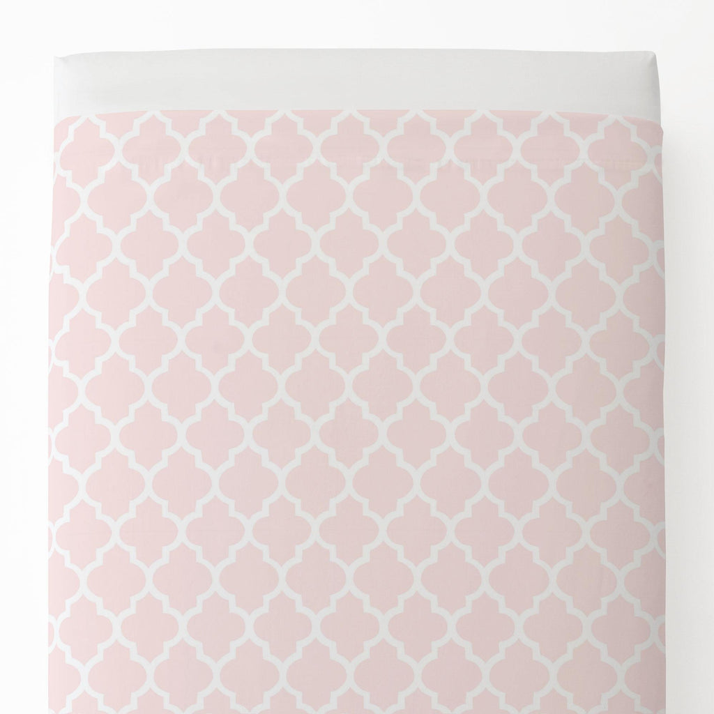 Product image for Blush Pink Hand Drawn Quatrefoil Toddler Sheet Top Flat