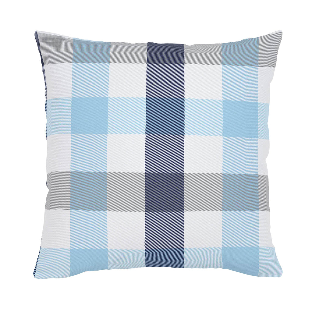 Product image for Navy and Lake Blue Buffalo Check Throw Pillow