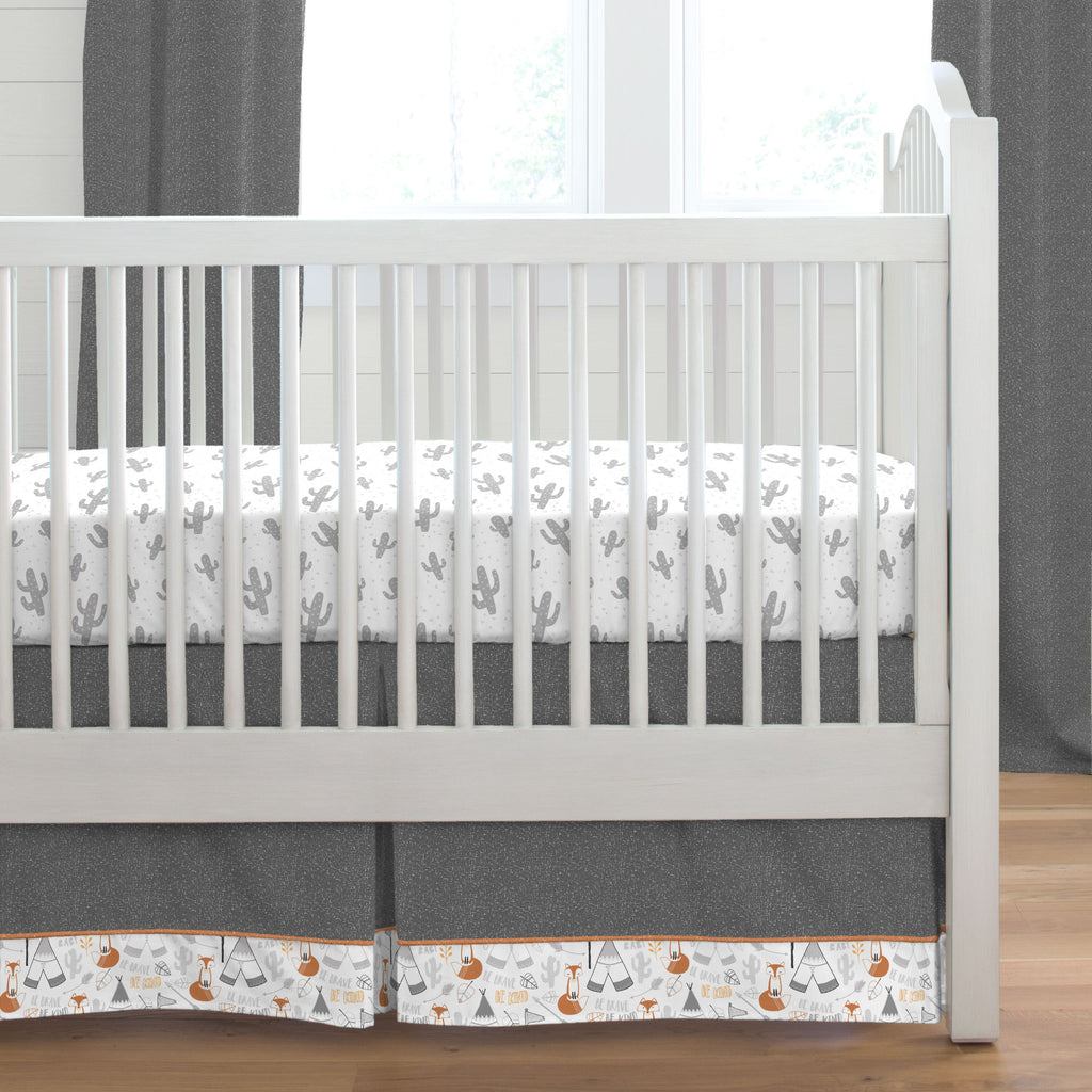 Product image for Dark Gray Heather Crib Skirt with Trim