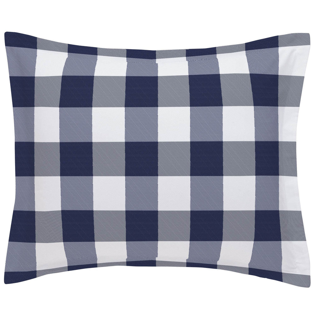 Product image for Navy and White Buffalo Check Pillow Sham