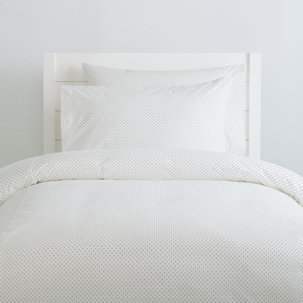 Product image for Cloud Gray Pin Dot Duvet Cover