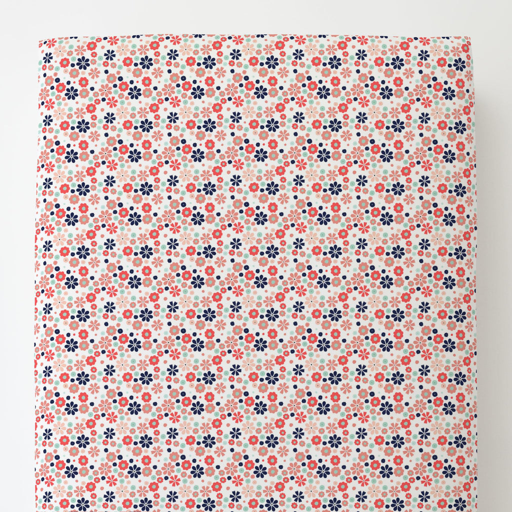 Product image for Coral Spring Flowers Toddler Sheet Bottom Fitted