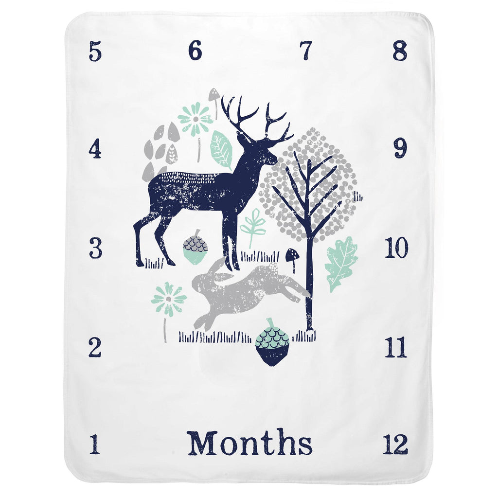 Product image for Navy and Mint Woodland Animals Milestone Baby Blanket