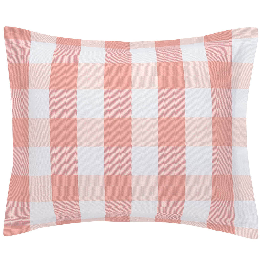Product image for Light Coral and Peach Buffalo Check Pillow Sham