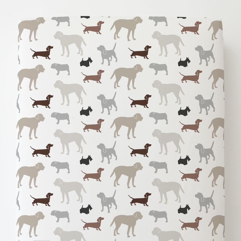 Product image for Brown and Gray Dogs Toddler Sheet Bottom Fitted