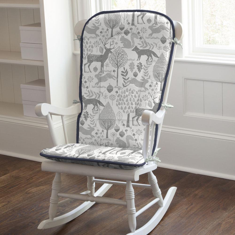 Product image for Gray Woodland Animals Rocking Chair Pad